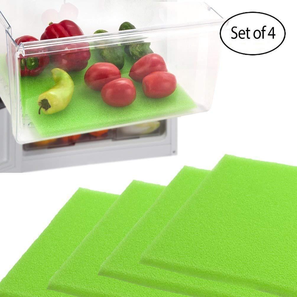 4pcs//set Useful Refrigerator Absorbent Sponge Fruit /& Veggie Anti-corrosion Pad